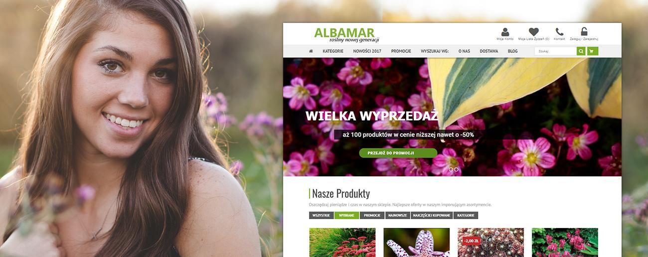 Slajd promocyjny wykonania sklepu internetowego Albamar.pl