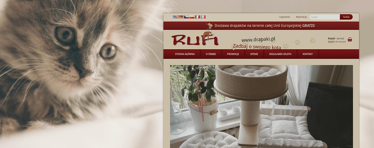 Slajd promocyjny sklepu z drapakami dla kotków Rufi