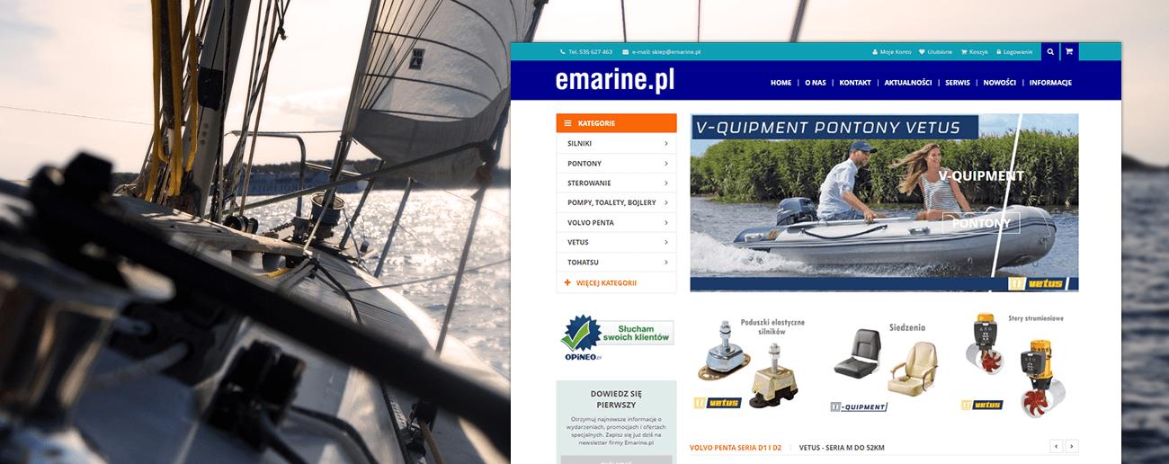 Slajd promocyjny sklepu z silnikami dla łodzi i pontonów Emarine.pl
