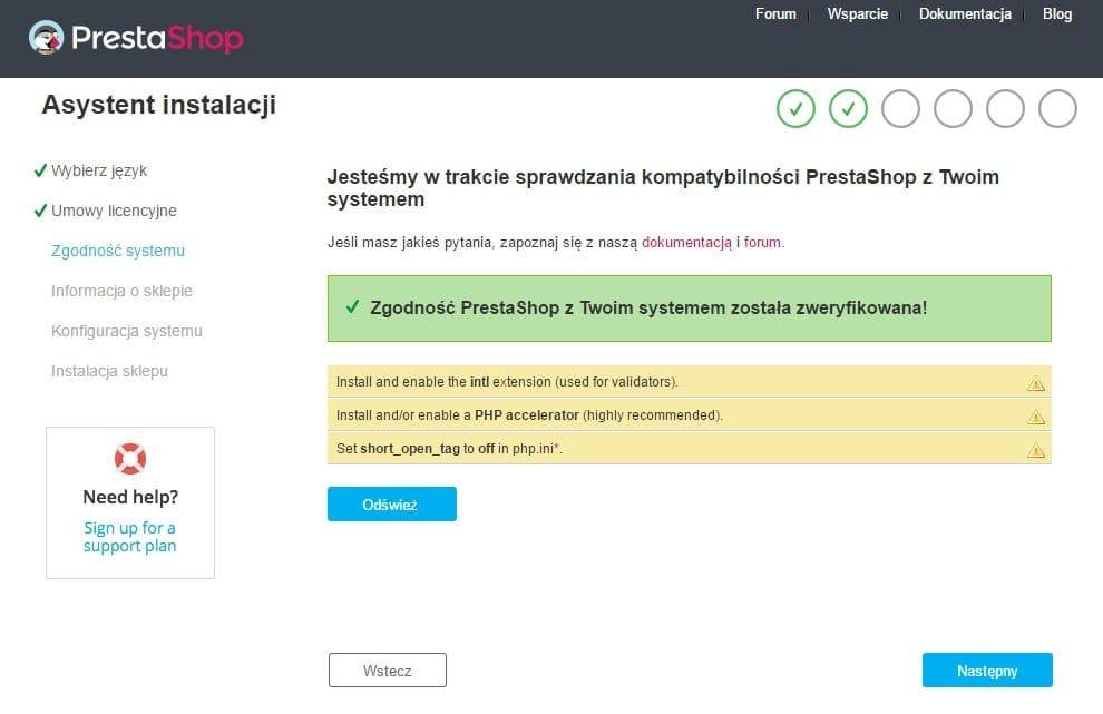 Trzecia strona procesu instalacji sklepu PrestaShop z wyświetlonymi ostrzeżeniami