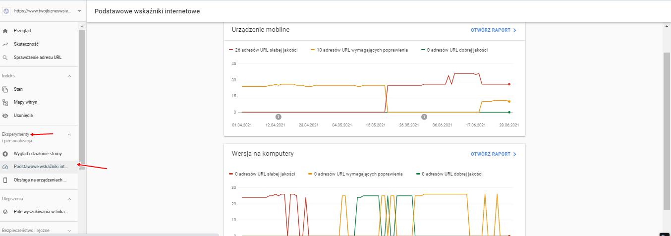 Core Web Vitals w Google Search Console