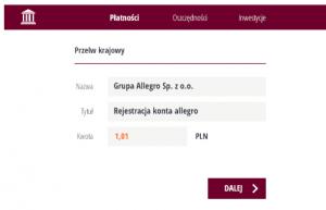 Rejestracja konta firmowego na Allegro krok trzeci
