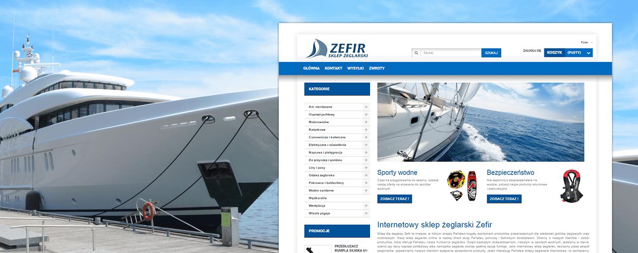Slajd promocyjny sklepu z artykułami dla żeglarzy Zefir